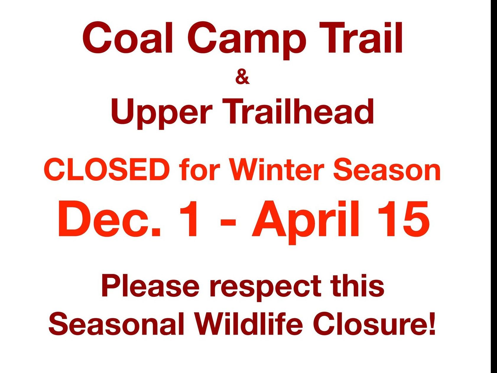 South Canyon Winter closure sign 11-26-18